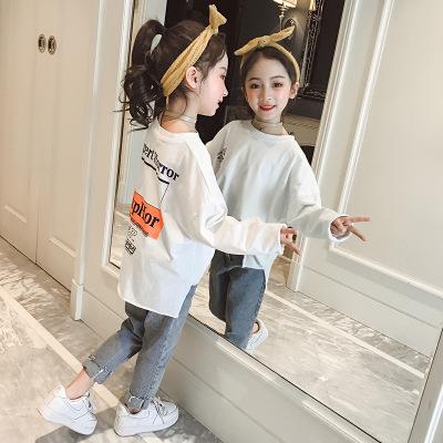 Áo thun trẻ em Áo sơ mi nữ bé gái mùa thu Michaels mùa thu 2019 mới chạm đáy áo sơ mi nữ bé tay dài