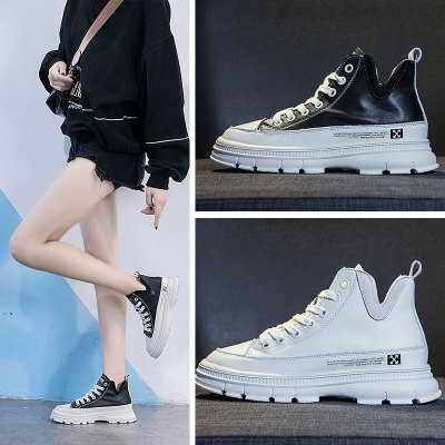 Giày tăng chiều cao Mùa thu 2019 mới chất liệu da hoang dã cao giúp giày nhỏ màu trắng nổi bật thoải