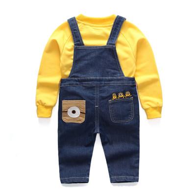 Trang phục Jean trẻ em Quần áo trẻ em hoạt hình quần yếm denim cài dây mùa xuân và mùa thu quần hai