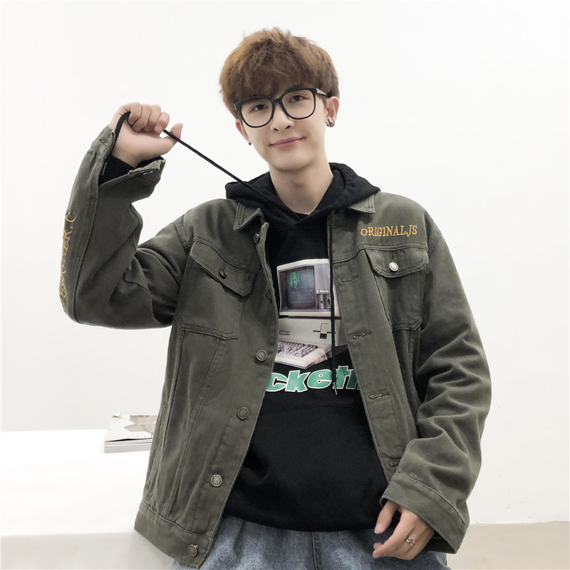 Áo khoác Mùa thu đông 2019 áo khoác denim nam mới phiên bản Hàn Quốc của xu hướng áo khoác ve áo sơ