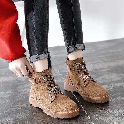 giày bánh mì / giày Platform Yang Mi với đôi bốt Martin nữ mùa thu đông 2019 mới Anh gió ngắn bốt đế