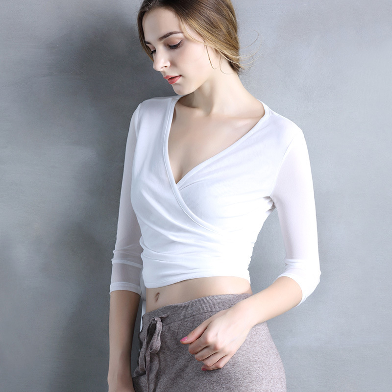 DANYU Áo thun Mùa hè 2019 mới áo thun 7 điểm tay áo sơ mi nữ ngắn tay áo rốn lưới áo thun cổ chữ V g