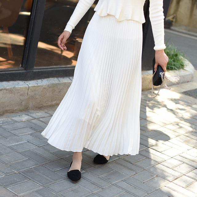 Đầm Xuân-Hè 2019 phiên bản Hàn Quốc mới của màu rắn dài đoạn có kích thước lớn váy xếp li eo cao váy