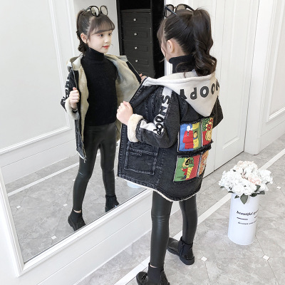 Trang phục Jean trẻ em Quần áo trẻ em học sinh 2019 mùa đông mới phiên bản Hàn Quốc cho bé trai và b