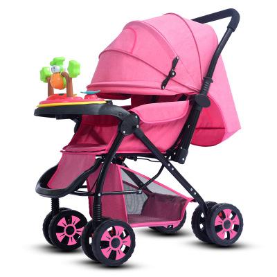 Xe đẩy trẻ em Xe đẩy em bé phong cảnh cao mở rộng và kéo dài có thể ngồi và gấp xe đẩy em bé bốn mùa