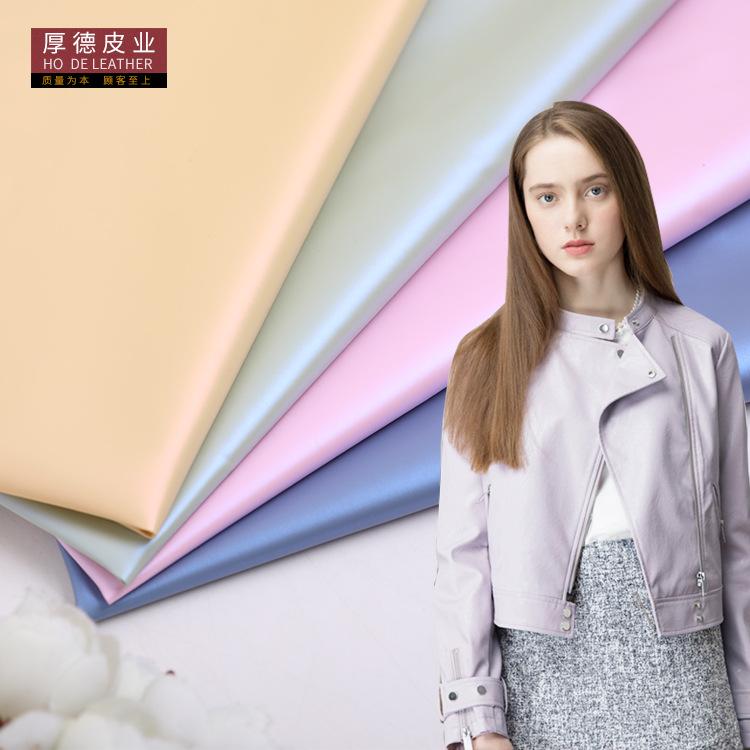 HOUDE Simili tổng hợp New PU da tổng hợp ngọc trai mùa thu và mùa đông xuống áo khoác gió thời trang