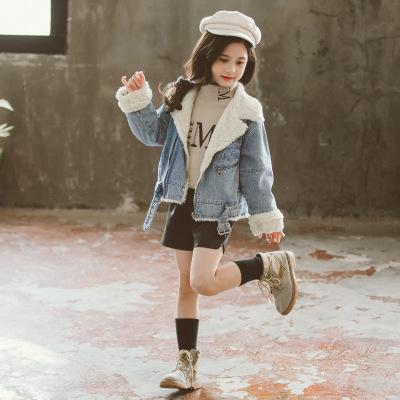 Trang phục Jean trẻ em Quần áo trẻ em Hàn Quốc cô gái dày denim mùa đông trẻ em lớn 2019 trẻ em mới