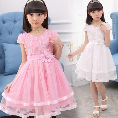 Thị trường trang phục trẻ em Quần áo trẻ em 2019 hè ngắn tay bé gái váy cotton trẻ em váy công chúa