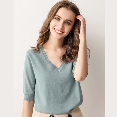 áo thun Mùa xuân ngắn tay của phụ nữ mùa thu và mùa đông áo len nước ngoài áo len cổ chữ v nửa tay á
