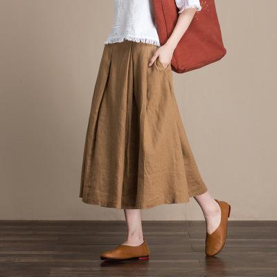 váy Bán buôn mùa xuân và mùa hè váy lanh nguyên chất nữ dài mảnh vải lanh một từ váy 2301 một thế hệ