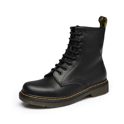 giày bệt nữ Giày cao cổ cho trẻ em mùa thu và mùa đông Giày cao gót đế thấp Anh Martin Giày nữ ống d