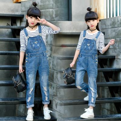 Quần trẻ em Cô gái cao bồi 2019 Cô gái mới phiên bản Hàn Quốc của quần ba dây yếm quần denim trong n
