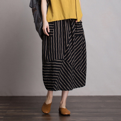 váy Bán buôn retro không thường xuyên sọc sọc váy của phụ nữ mùa xuân và mùa hè đàn hồi eo váy cotto