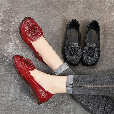 giày bệt nữ 2019 thu đông mới giày mẹ đế bằng da đế mềm đế mềm chống trượt chân giày hoa nhảy cũ