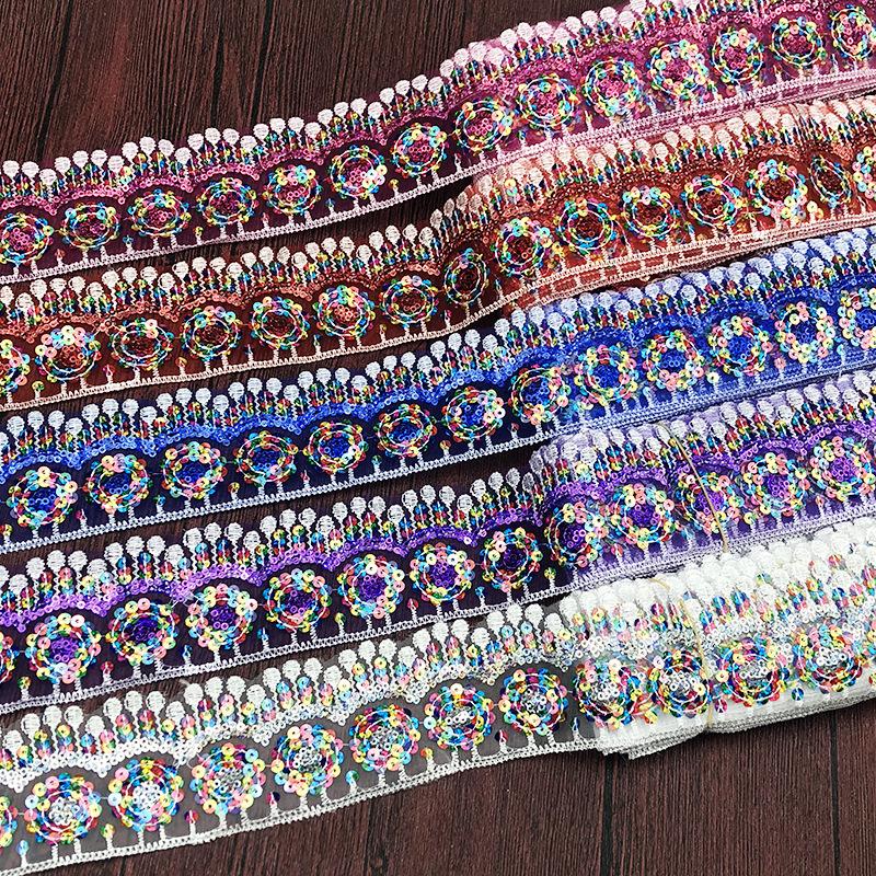 ren viền Off-the-shelf thêu phong cách dân tộc sequin ren màu mã vạch phụ kiện quần áo
