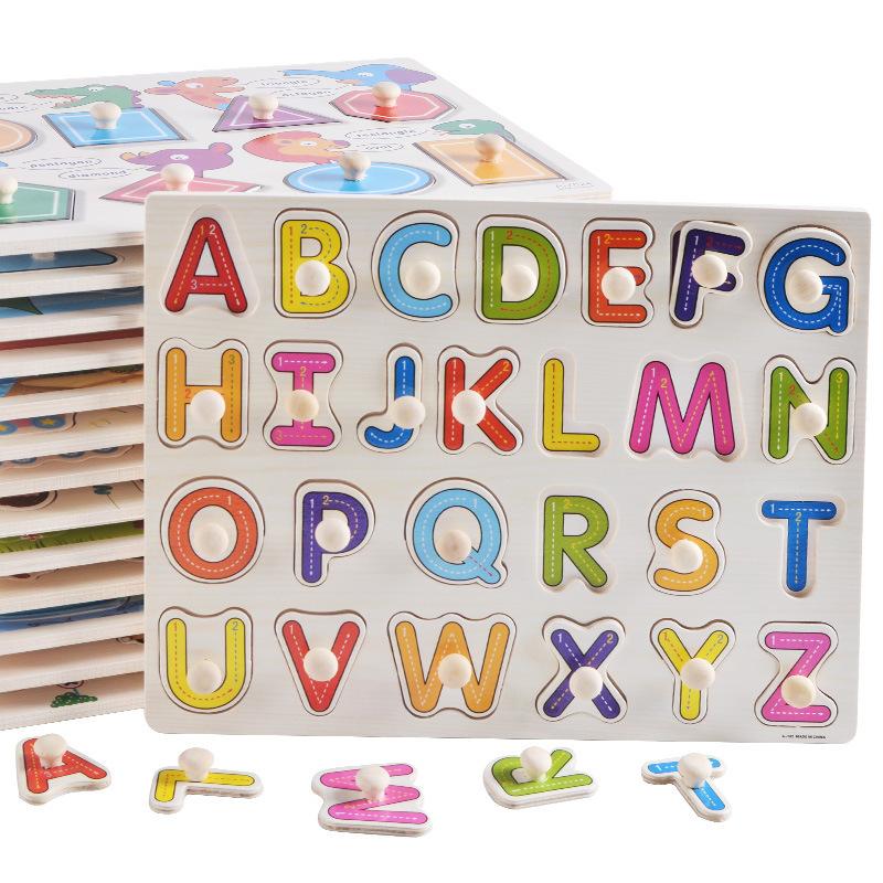 Đồ chơi ghép hình bằng gỗ  thông minh gồm bảng chữ cái trái cây động vật câu đố