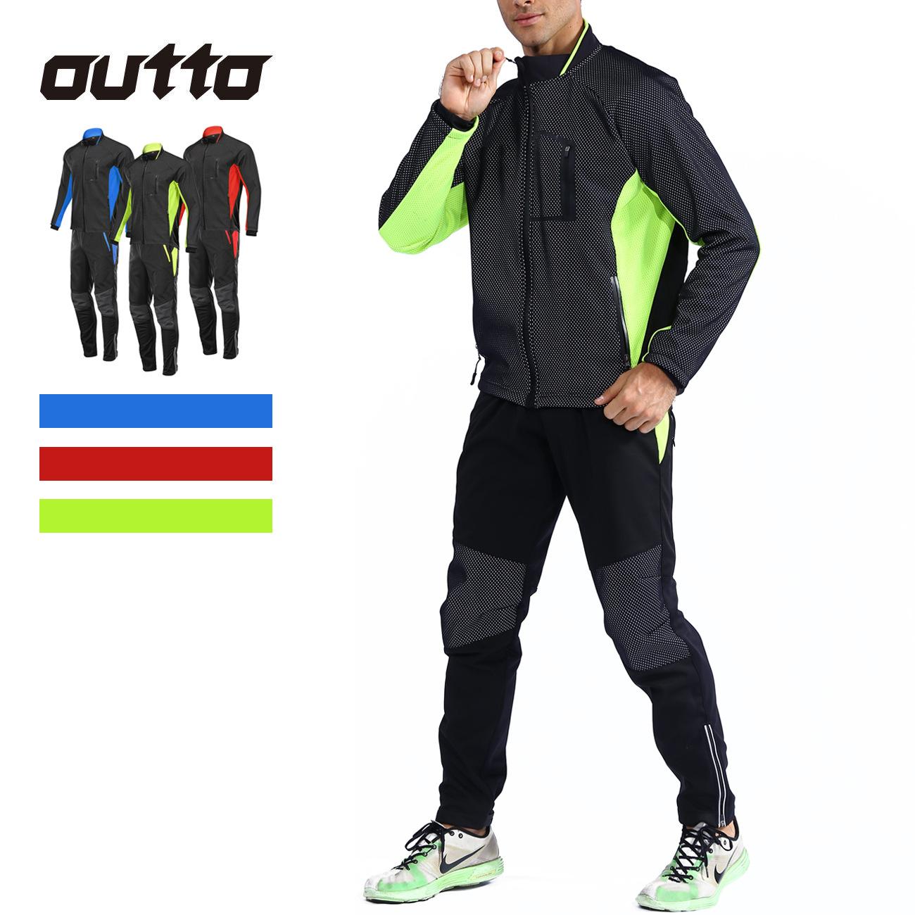 OUTTO Trang phục xe đạp Bộ đồ đi xe đạp xuyên quốc gia mùa thu và mùa đông phù hợp với xe đạp lông c