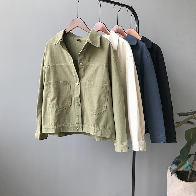 SJLTÁo khoác lửng [Words double] áo khoác denim nữ 2019 phiên bản Hàn Quốc hoang dã mới của áo khoác