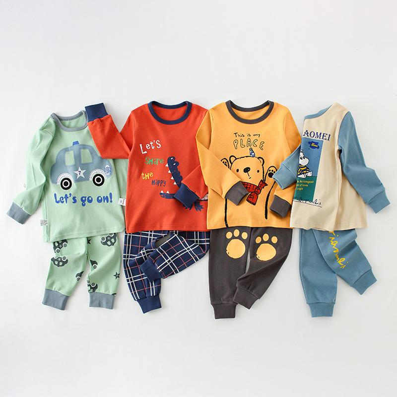 YXYY Đồ ngủ trẻ em Quần áo trẻ em cotton mùa thu quần dài đồ lót nhà dịch vụ phù hợp với bé trai mùa