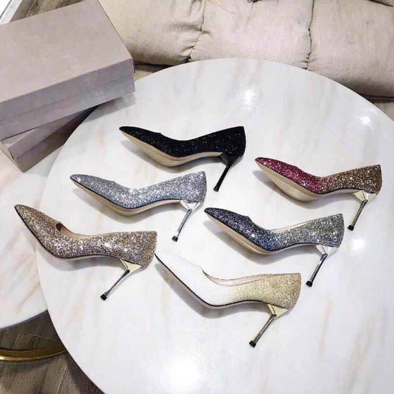 SYNH Giày cô dâu Giày cưới nữ 2019 mới nhọn giày cao gót pha lê cao gót phù dâu cô dâu đính sequin b