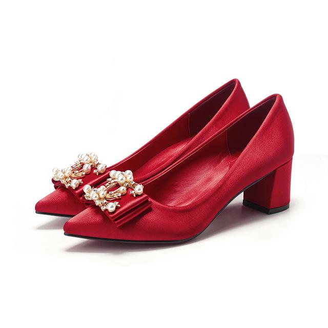 ANNALI Giày cô dâu Phụ nữ mang thai Giày cưới nữ màu đỏ dày có giày cô dâu nhọn có gót hiển thị váy