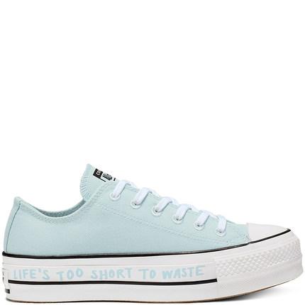 CONVERSE Giày nữ trào lưu Hot CONVERSE Re 威 Đổi mới P.E.T. Giày vải đế thấp đế bệt 566230C