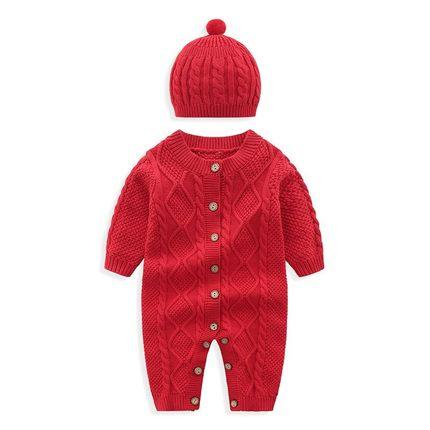 AIMIANFANG Vải dệt kim  Mẫu áo thu đông nam nữ jumpsuit dệt kim 0-6-12 tháng tuổi bé áo len ấm áp sơ