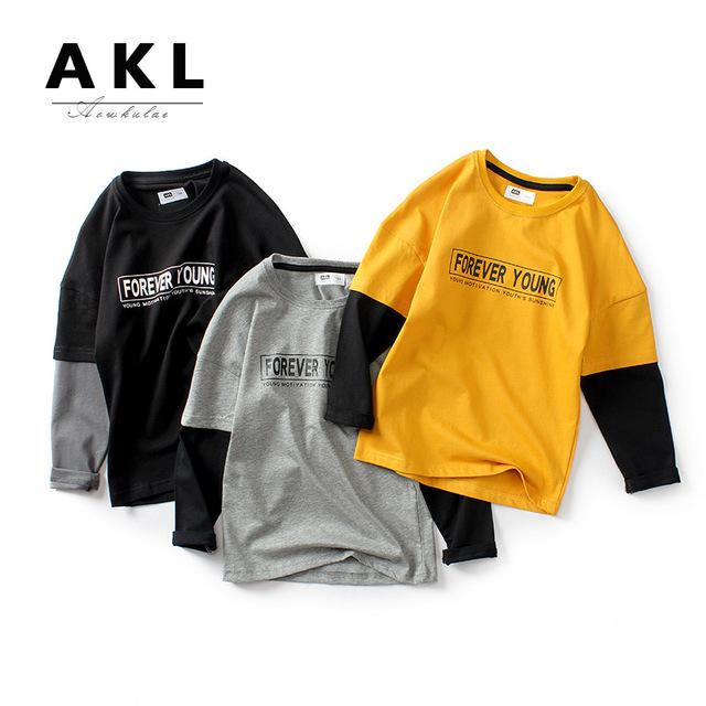 AOWKULAE áo thun Túi tóc giúp quần áo trẻ em mùa thu 2019 phiên bản Hàn Quốc cho bé gái mới tay dài