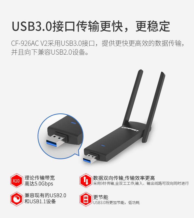 Card mạng 3G/4G Màn hình nền tự do máy tính mạng 1200m Gigabit USB hai tần số 6g máy tính mạng mạng