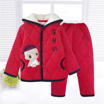 Anzhimei Đồ ngủ trẻ em Trẻ em chăn bông dày mùa đông Trẻ em flannel ba lớp dày dịch vụ nhà phù hợp v
