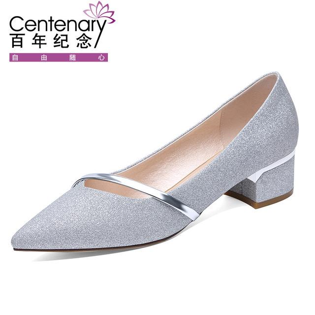 Centenary Giày nữ hàng Hot Túi để giúp thế kỷ 2018 mùa xuân và mùa thu mới Giày nữ chuyên nghiệp với