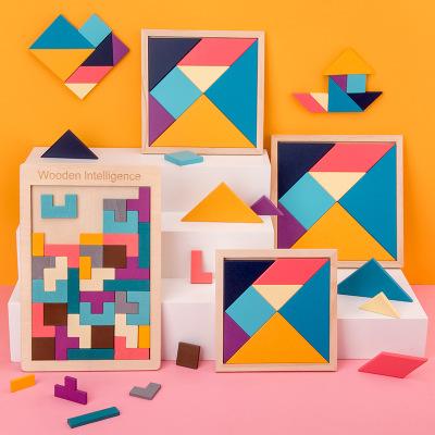 Bộ đồ chơi giải câu đố tangram trẻ nhỏ 2-3-4-6 tuổi .