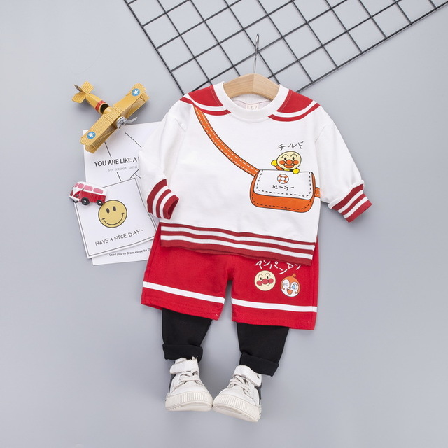 Đồ Suits trẻ em Áo sơ mi dài tay cho bé mùa thu 2019 cho bé bộ đồ hai dây mùa xuân