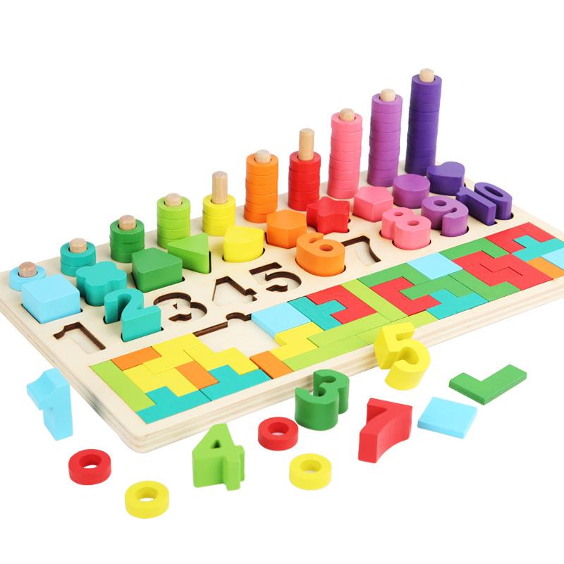 AIDISHENG - Bộ đồ chơi Hình dạng kỹ thuật số Tetris Bốn trong một cho Trẻ em