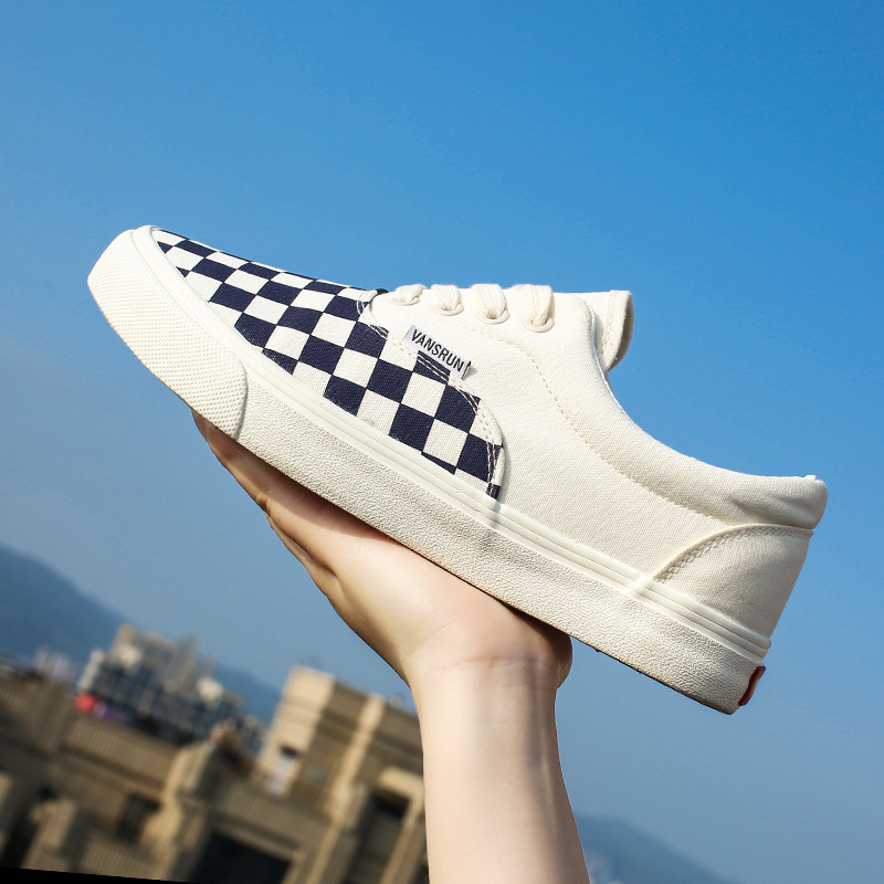 giày vải  kẻ caro kẻ sọc cổ điển nam nữ giày vải canvas giày thể thao sinh viên đôi giày hoang dã