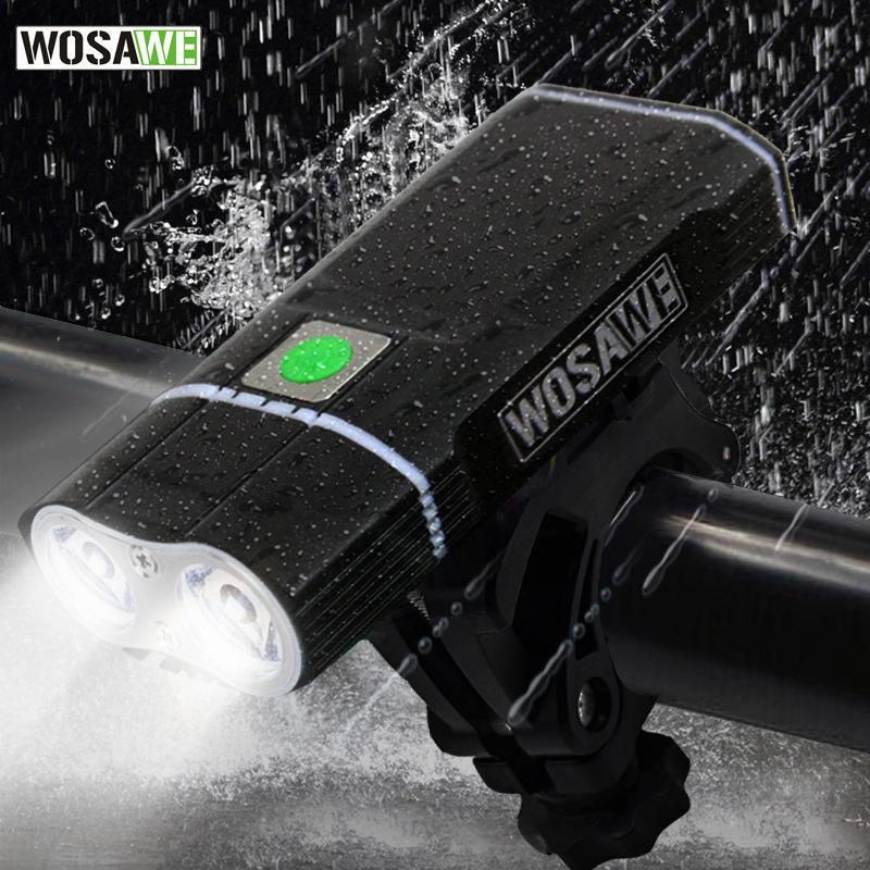 Đèn pin pha xe đạp WOSAWE đèn pha sạc USB