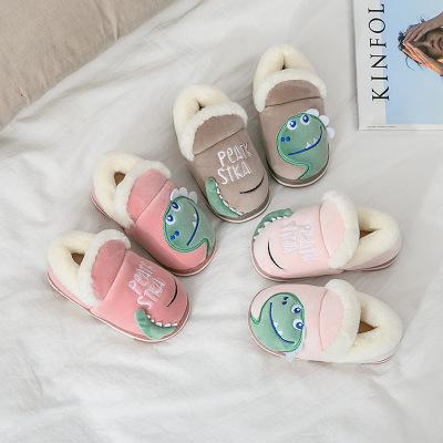 dép trẻ em Dép trẻ em mùa thu đông 2019 Túi mới có đáy dày chống trượt Khủng long dễ thương trong nh