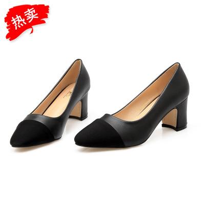 Giày GuangDong Giày cao gót Giày nữ châu Âu và Mỹ thời trang thoải mái với giày da Màu sắc phù hợp v