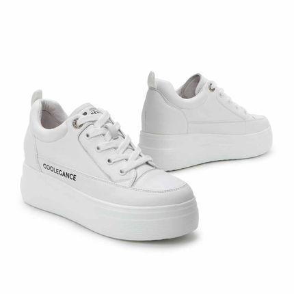 BELLE  Giày trắng nữ Bailey bánh thông đế giày trắng 2020 mùa xuân mới da bò nữ giày thường 21131AM0