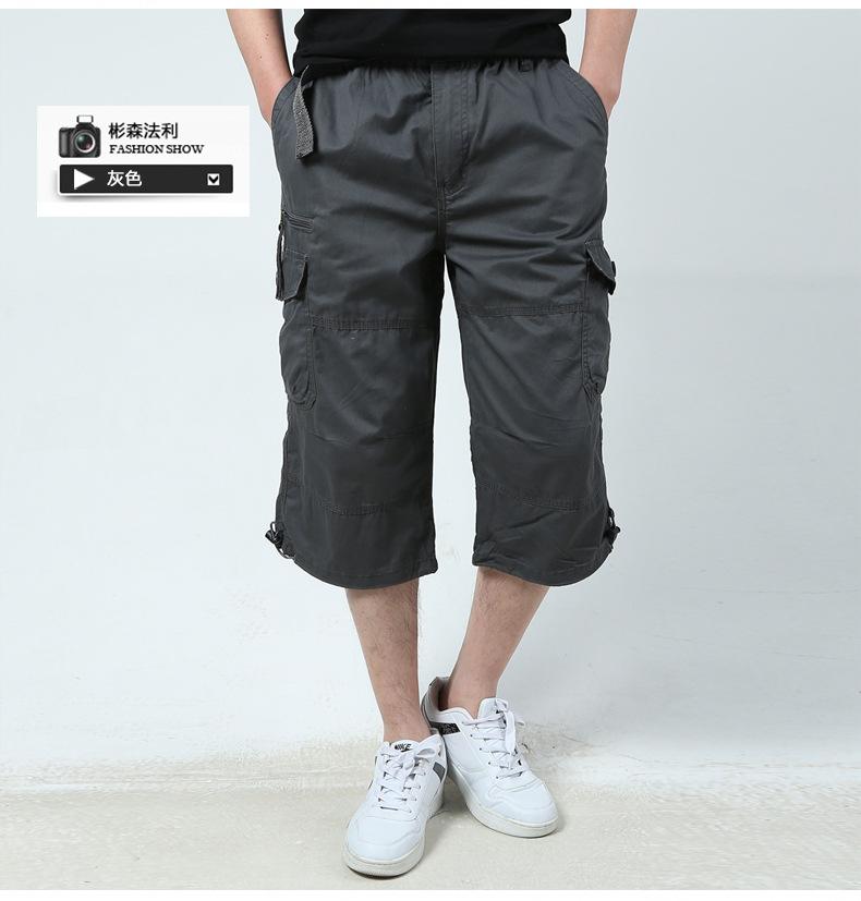 SSFL Quần Casual Quần nam nhiều túi giản dị 7 quần mùa hè lỏng lẻo eo lớn dụng cụ cắt quần nam quần