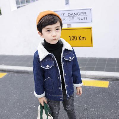 khác Trang phục Jean trẻ em Áo khoác bé trai mùa xuân và mùa đông Lamb Fur 2019 Áo sơ mi denim cá t