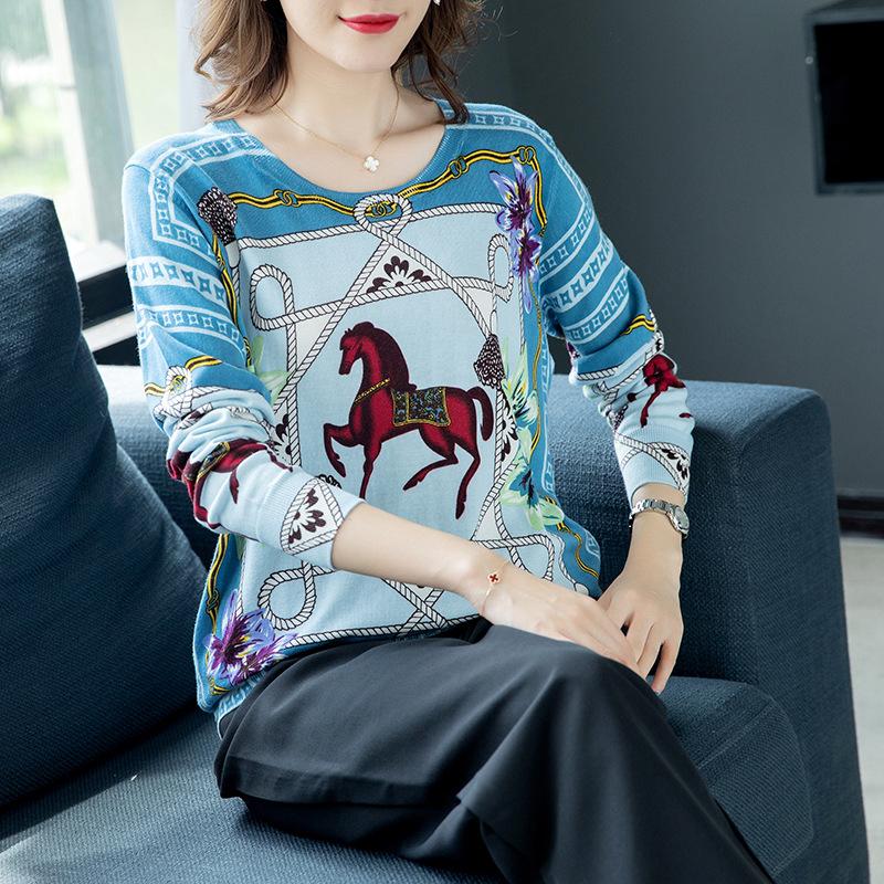 FEIYAO Thời trang Áo len nữ mùa thu đông 2019 áo len dài tay đầu ngựa in họa tiết cotton lỏng áo len