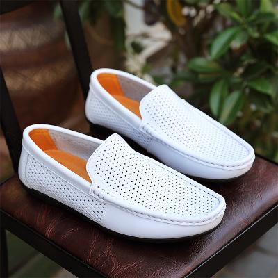 Giày da một lớp  Giày nam | Mùa hè mới rỗng đậu thoáng khí giày da Thời trang Hàn Quốc Giày đậu Hà L