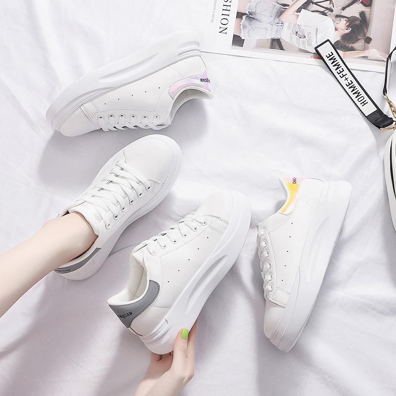 FOORAABO Giày trắng nữ Mùa thu 2019 mới học sinh hoang dã Phiên bản Hàn Quốc tăng giày trắng nữ lưới