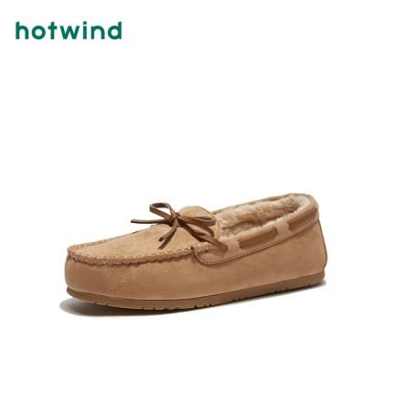Hotwind  Giày mọi Gommino Giày gió nóng / gió sang trọng nữ cộng với nhung ấm đơn giày đế bằng phẳng