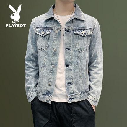PLAYBOY Vải Jean  Áo khoác nam Playboy denim mùa xuân và mùa thu Áo khoác mỏng mùa thu giản dị phiên