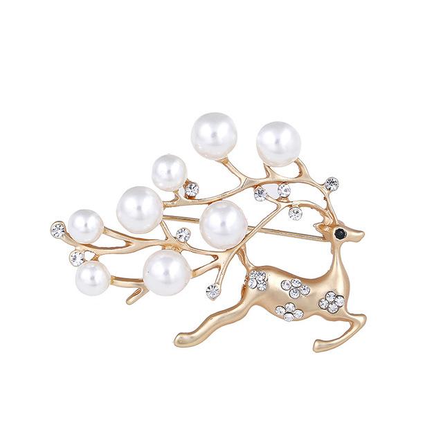 Dunyuan Phụ kiện thời trang Phiên bản tiếng Hàn của chiếc trâm hươu nhỏ và tinh xảo Ngọc trai khảm k
