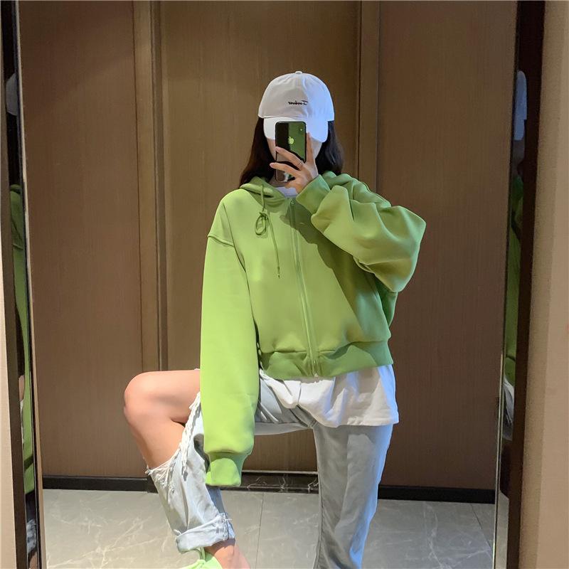Áo khoác lửng 2019 thời trang hoang dã đoạn ngắn màu đơn giản áo trùm đầu ngắn