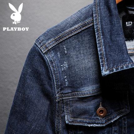 PLAYBOY Vải Jean  Áo khoác denim Playboy nam mùa xuân và mùa thu đông đẹp trai xu hướng áo khoác den