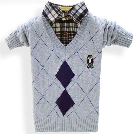 AIMIANFANG Vải dệt kim  Áo len trẻ em vuông vuông trẻ em chạm đáy áo len trẻ em mùa xuân và mùa thu